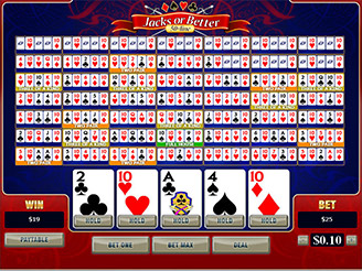 Play 50-Line Jacks or Better Videopoker Online