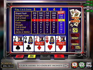 Play Jacks or Better Videopoker Online